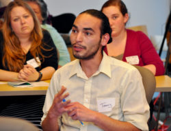 A teacher scholar presents his inquiry learning