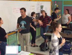 Teachers talking in pairs