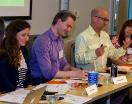 Four teacher scholars present their learning on a panel