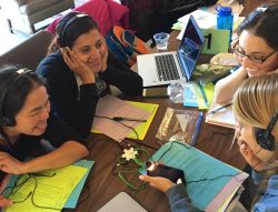 Four teacher scholars look at video data of student learning