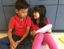 two kids reading